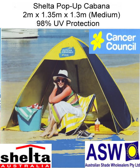 $119.00 $75.00  sc 1 st  The Shade Centre & Shelta Pop Up Cabana 2m x 1.35m x 1.3m Cancer Council - The Shade ...